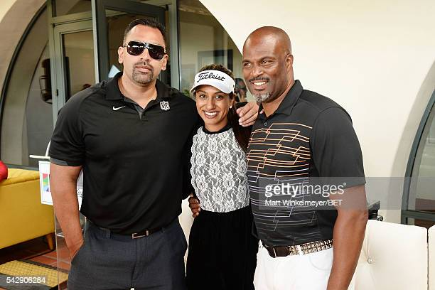 Seema Sadekar and Chris Spencer pose for a photo with a participant during the 2016 BETX Celebrity Golf sponsored by Nike on June 24 2016 in Los...