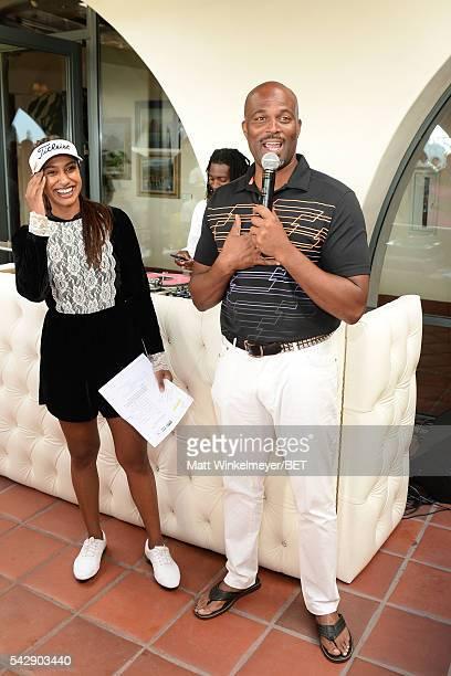 Seema Sadekar and Chris Spencer speak onstage during the 2016 BETX Celebrity Golf sponsored by Nike on June 24 2016 in Los Angeles California