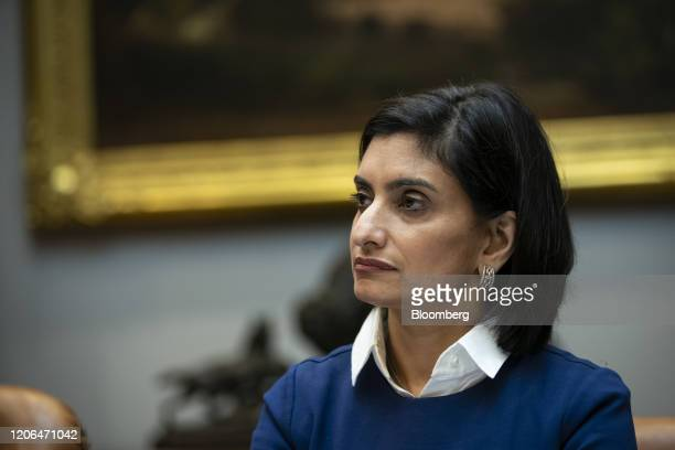 Seema Verma administrator of the Centers for Medicare and Medicaid Services listens during a coronavirus briefing with health insurers in the...