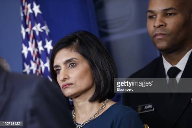 Seema Verma administrator of the Centers for Medicare and Medicaid Services left and Vice Admiral Jerome Adams US Surgeon General listen during a...