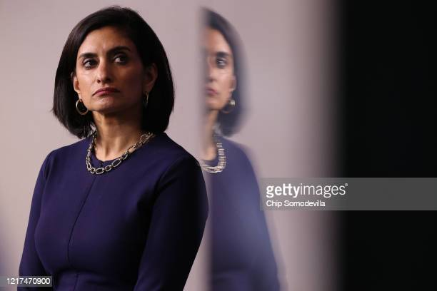 Seema Verma administrator of the Centers for Medicare and Medicaid Services attends a briefing following a meeting of the coronavirus task force in...