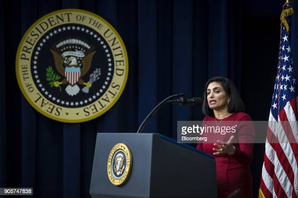 Seema Verma administrator of the Centers for Medicare Medicaid Services speaks during a 'Conversations with the Women of America' event at the...