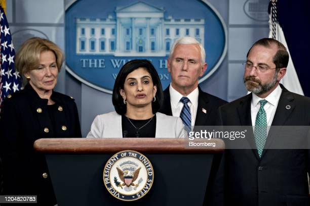 Seema Verma administrator of the Centers for Medicare Medicaid Services second left speaks as Deborah Birx coronavirus response coordinator from left...