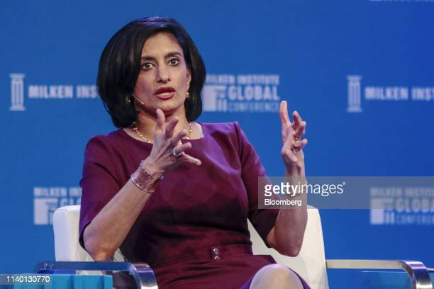 Seema Verma administrator of the Centers for Medicare Medicaid Services speaks during the Milken Institute Global Conference in Beverly Hills...