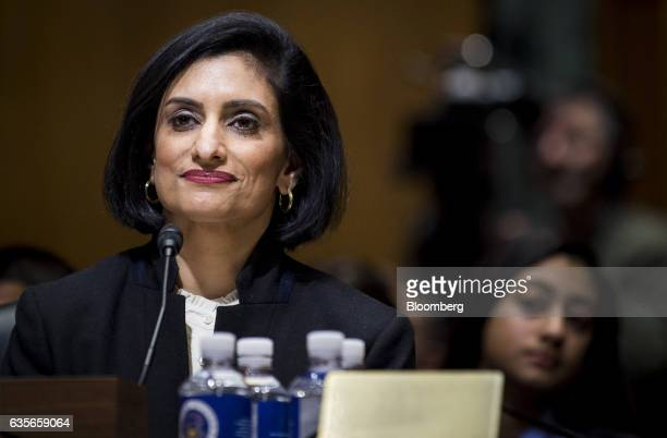 Seema Verma Centers for Medicare and Medicaid Services administrator nominee for US President Donald Trump smiles during a Senate Finance Committee...