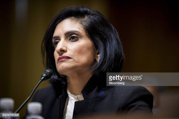 Seema Verma Centers for Medicare and Medicaid Services administrator nominee for US President Donald Trump listens during a Senate Finance Committee...