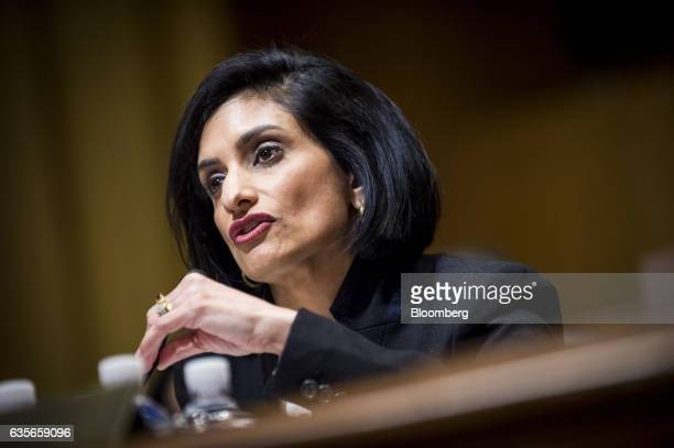 Seema Verma Centers for Medicare and Medicaid Services administrator nominee for US President Donald Trump speaks during a Senate Finance Committee...