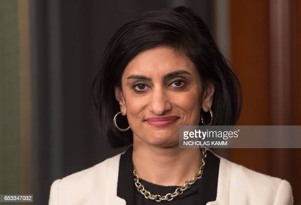 Seema Verma looks on before being sworn in as Administrator of the Centers for Medicare and Medicaid Services in Washington DC on March 14 2017 / AFP...