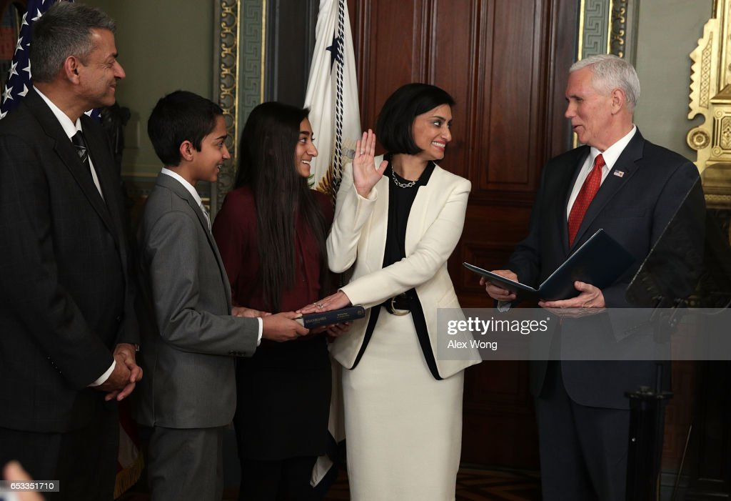 Mike Pence Swears In Seema Verma As CMS Administrator : News Photo