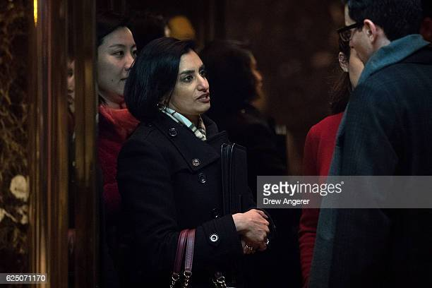 Seema Verma president and founder of SVC Inc gets into an elevator as she arrives at Trump Tower November 22 2016 in New York City Presidentelect...