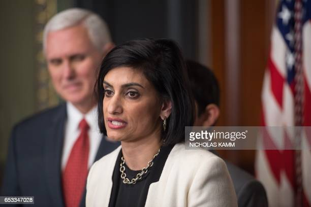 Seema Verma speaks after being sworn in as Administrator of the Centers for Medicare and Medicaid Services by US Vice President Mike Pence in...