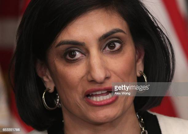 Seema Verma speaks during a swearingin ceremony in the Vice President Mike Pence's ceremonial office at Eisenhower Executive Building March 14 2017...