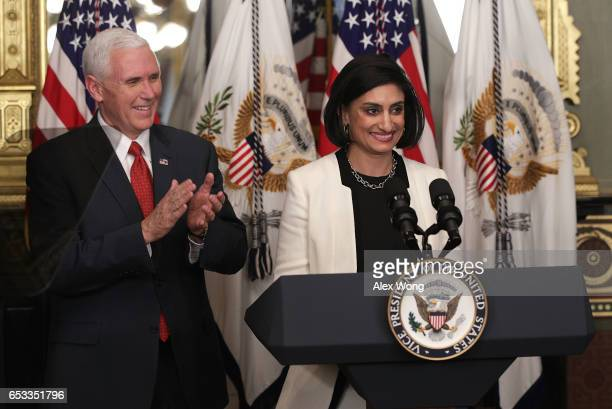 Seema Verma speaks during a swearingin ceremony officiated by US Vice President Mike Pence in the Vice President's ceremonial office at Eisenhower...