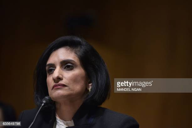 Seema Verma testifies before the Senate Finance Committee on her nomination to be the administrator of the Centers for Medicare and Medicaid Services...