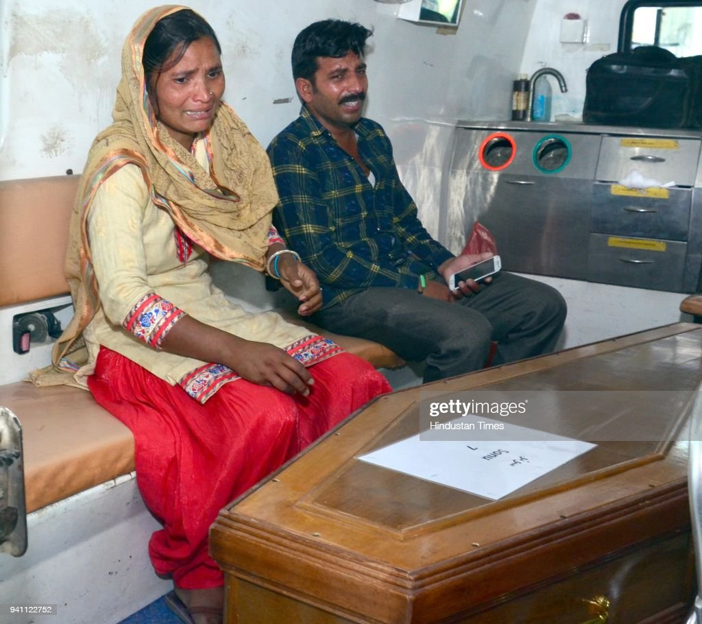 Seema weeping bitterly to see the coffins of her husband Sonu which was brought from Iraq at Sri Guru Ram Dass Jee International Airport on April 2...
