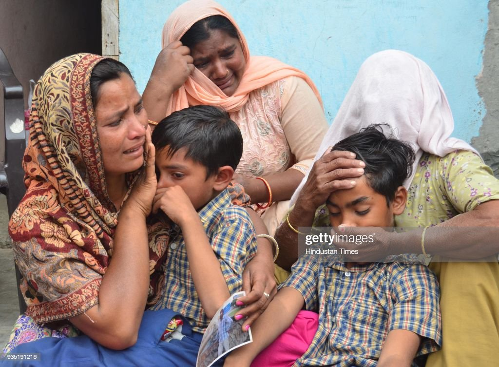 Seema with Jeeto Mother in Law and Karan and Arjun Son grieving the death of his husband Sonu who was killed in Iraq with Jeeto mother of Sonu at...