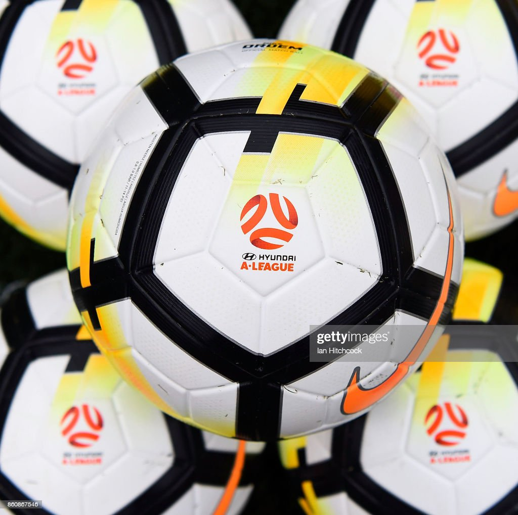 Seen are game balls on the field of play before the start of the round two A-League match between the Brisbane Roar and Adelaide United at Suncorp Stadium on October 13, 2017 in Brisbane, Australia.