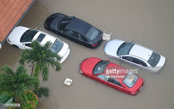Seen are partially submerged cars in the flooded Townsville suburb of Idalia on February 04 2019 in Townsville Australia Queensland Premier...