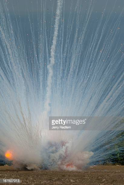 Seen from a mile away a pair of phosphorous bombs are detonated by a clearance team from Phoenix Clearance LTD The bombs were found and reported by a...