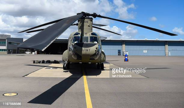 Seen is a front view of a CH-47 Chinook from the 5th Aviation Regiment before it deploys from Townsville on January 05, 2020 in Townsville,...