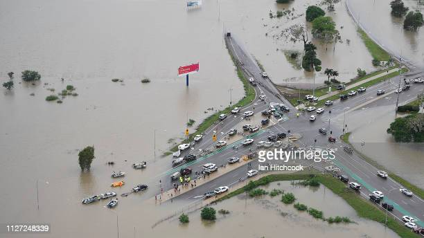 Seen is a general view of a blocked major intersection in the flooded Townsville suburb of Idalia on February 04, 2019 in Townsville, Australia....