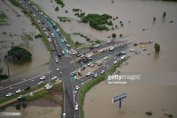 Seen is a general view of a blocked major intersection in the flooded Townsville suburb of Idalia on February 04 2019 in Townsville Australia...
