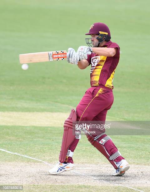 Seen is a general view of the field of play during the JLT One Day Cup match between Queensland and Tasmania at Riverway Stadium on September 22 2018...
