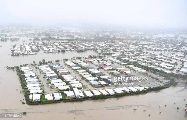 Seen is a general view of the flooded area of Townsville on February 04, 2019 in Townsville, Australia. Queensland Premier Annastacia Palaszczuk has...