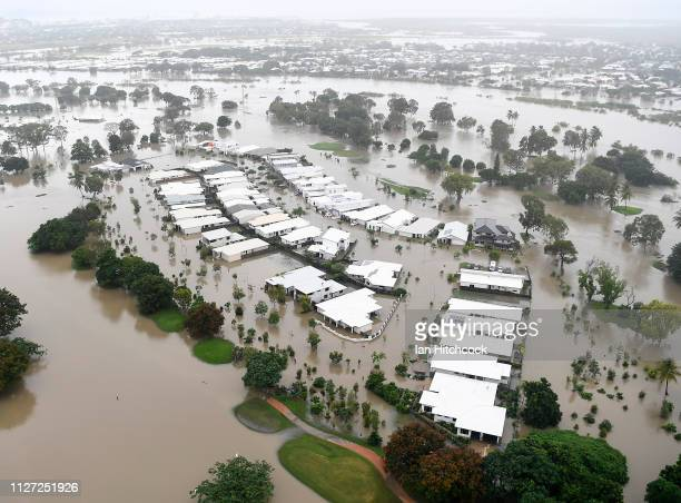 Seen is a general view of the flooded area of Townsville on February 04 2019 in Townsville Australia Queensland Premier Annastacia Palaszczuk has...
