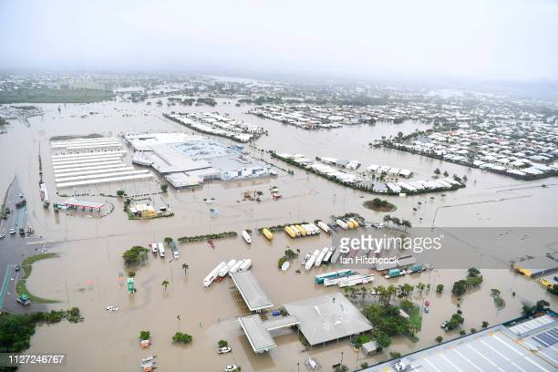 Seen is a general view of the flooded Townsville suburb of Idalia on February 04 2019 in Townsville Australia Queensland Premier Annastacia...