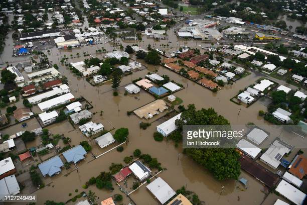 Seen is a general view of the flooded Townsville suburb of Rosslea on February 04, 2019 in Townsville, Australia. Queensland Premier Annastacia...