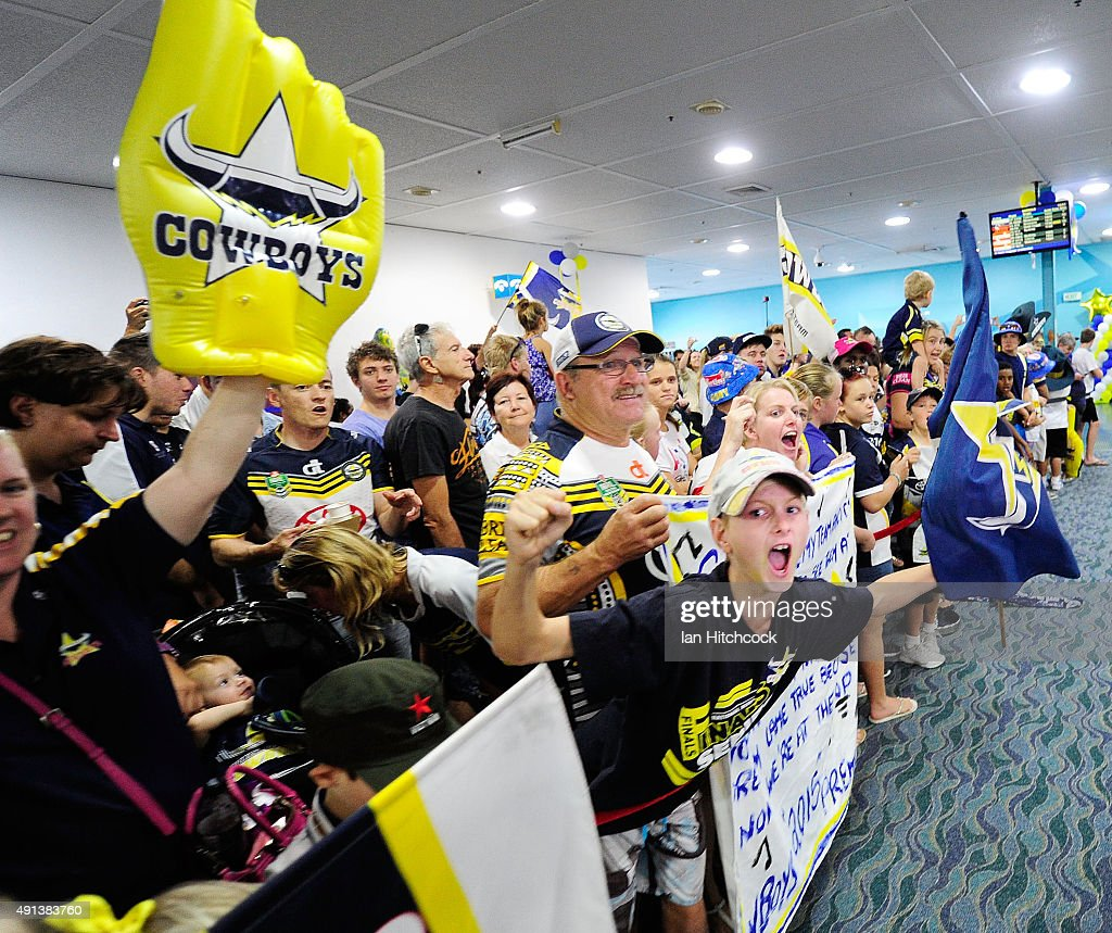 Seen is part of the crowd assembled waiting for the returning Cowboys at the Townsvile airport before the the North Queensland Cowboys NRL Grand Final fan day at 1300 Smiles Stadium on October 5, 2015 in Townsville, Australia.