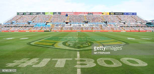 Seen is signage commemorating Johnathan Thurston's 300th NRL game before the start the round one NRL match between the North Queensland Cowboys and...