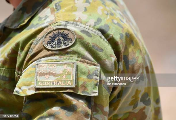 Seen is the shoulder insignia and patches on a Australian Army soldier as part of Exercise Black Dagger on October 5 2017 in Townsville Australia...