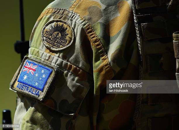 Seen is the sleeve and badges worn by an Australian RAAF JTAC member during air operations on April 6 2016 in Townsville Australia Exercise Black...
