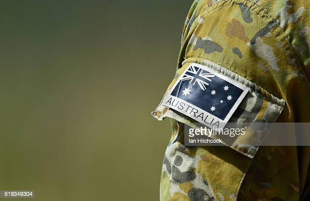Seen is the sleeve and the Australian flag patch worn by an Australian RAAF JTAC member during air operations on April 6 2016 in Townsville Australia...