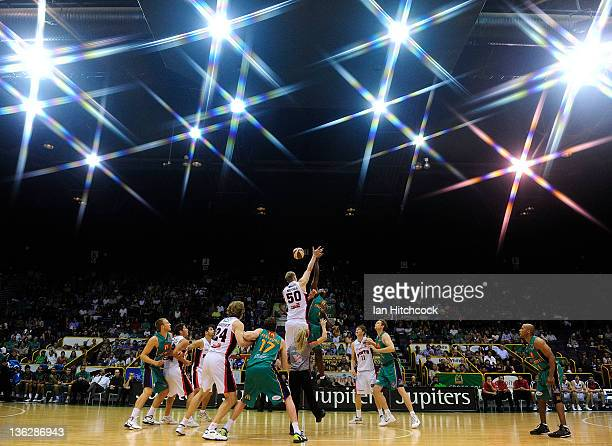 Seen is the tip off for the start of the round 13 NBL match between the Townsville Crocodiles and the Perth Wildcats at Townsville Entertainment...