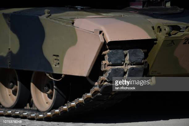 Seen is the track of an Australian M1 Abrams during the 2nd Cavalry Regiment Mounted Parade on December 01 2018 in Townsville Australia The parade...