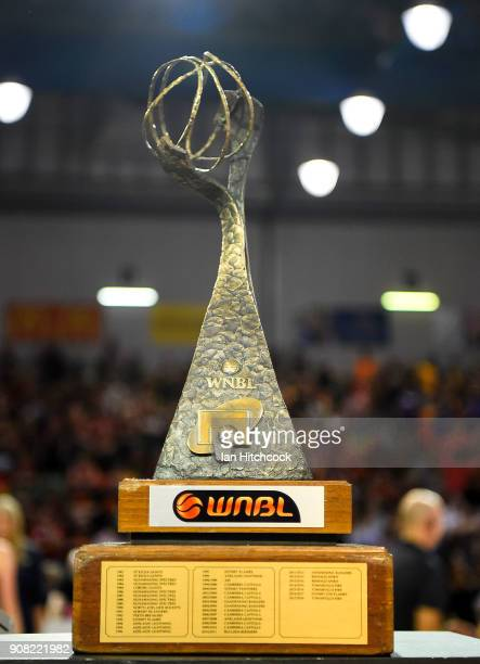 Seen is the WNBL Championship trophy at the end of game three of the WNBL Grand Final series between the Townsville Fire and Melbourne Boomers at the...