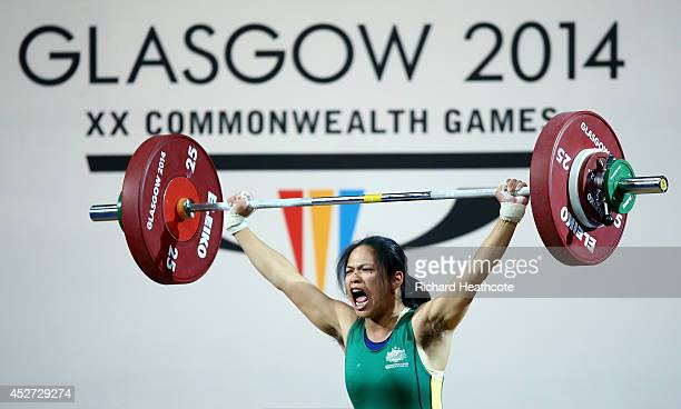 Seen Lee of Australialifts during the Women's 58kg A Final at Scottish Exhibition And Conference Centre during day three of the Glasgow 2014...