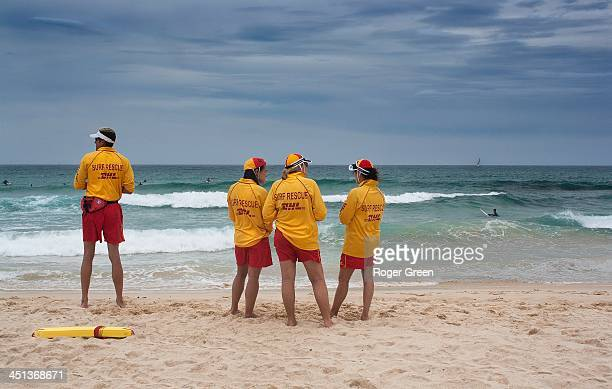 Seen on Bondi beach, Sydney Australia. Looking for any distressed surfers. One watches ... The other three talk!