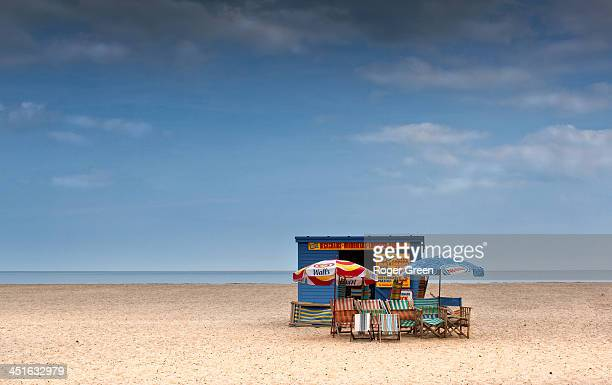 Seen on the beach at Great Yarmouth. A deserted beach but with deck chairs for hire!