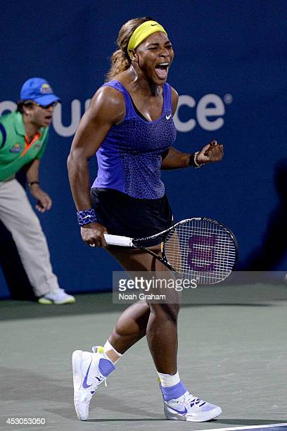 Seena Williams of the United States of America celebrates after her win against Ana Ivanovic of Serbia during Day 5 of the Bank of the West Classic...