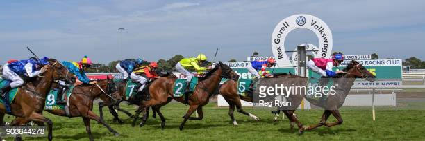 Seento ridden by Ben Allen wins the Connect Tel BM64 Handicap at Geelong Racecourse on January 11 2018 in Geelong Australia