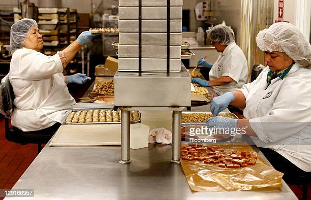 See's Candies Inc. Employees hand dip bon bons in maple syrup at company's the factory in San Francisco, California, U.S., on Monday, Oct. 10, 2011....