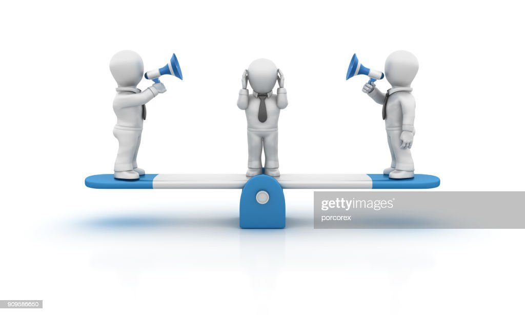 Seesaw and Business People with Megaphone - 3D Rendering : Stock Photo