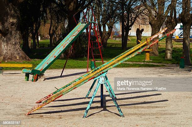 Seesaw And Slide In Playground