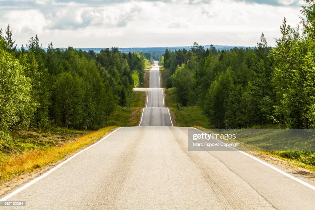Seesaw road in Finland : Stock Photo