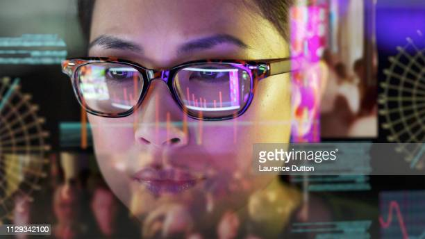 see-thru data screen watcher. - analysing stock pictures, royalty-free photos & images
