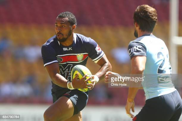 Sefa Naivalu of the Rebels runs the ball during the Rugby Global Tens match between Waratahs and Rebels at Suncorp Stadium on February 12 2017 in...